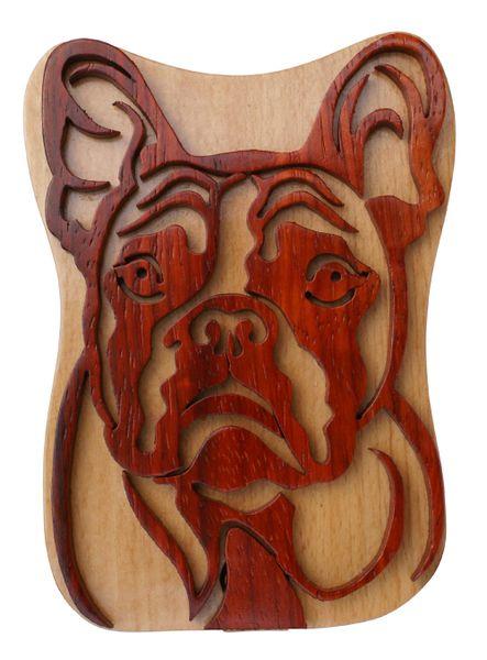 French Bulldog Wooden Secret Puzzle Box