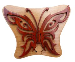 Tribal Art Butterfly Wooden Secret Puzzle Box