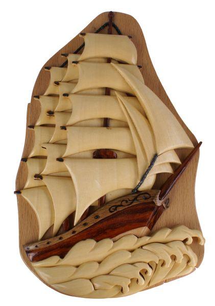 Sail Boat Hande Made Intarsia Puzzle Box