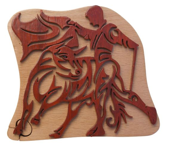 Matador & Bull Tribal Art Puzzle Box
