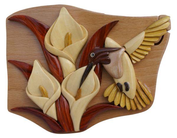 Hummingbird Wooden Secret Puzzle Box with secret compartment