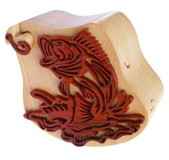 Bass & Frog Intarsia Puzzle Box crafted in detail from Beechwood