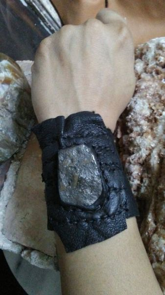 Black leather & Silver Pyrite Stone