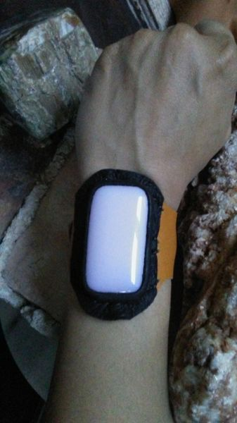 Mustard & Black Color leather with Pink Opalite