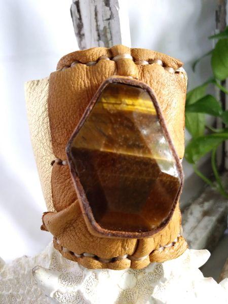 Gold Metallic & Tan leather with Tiger Eye Stone