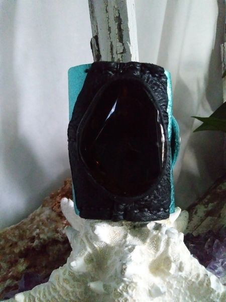 Turquoise Metallic & Black leather with Black Agate Gemstone