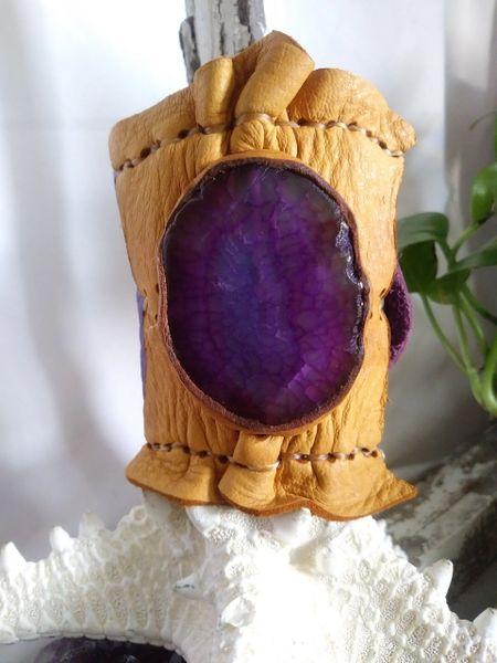 Purple Metallic & Tan leather with Purple Agate gemstone