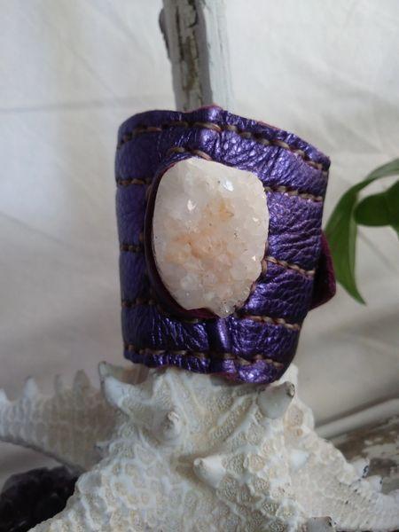 Purple Metallic with White Quartz Crystal