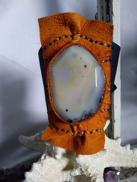 Navy Blue & Orange Leather with Opaque White gold trimmed Agate Gemstone