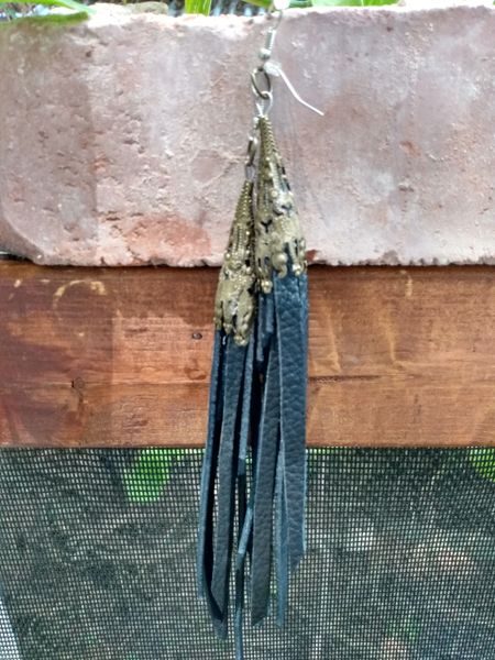 Long Black Fringe Leather Earrings