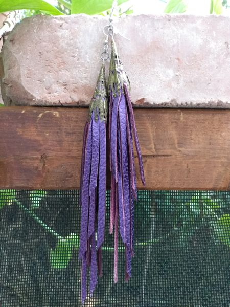 Long Purple Metallic Fringe Leather Earrings