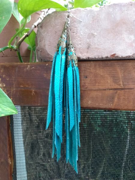 Long Turquoise Metallic Fringe Leather Earrings