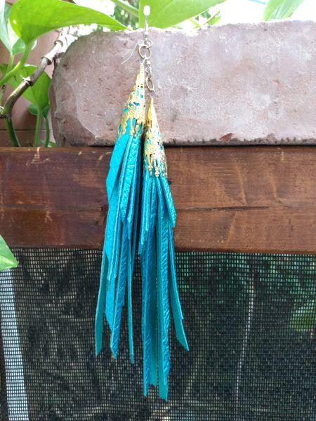 Long Turquiose Metallic Fringe Leather Earrings