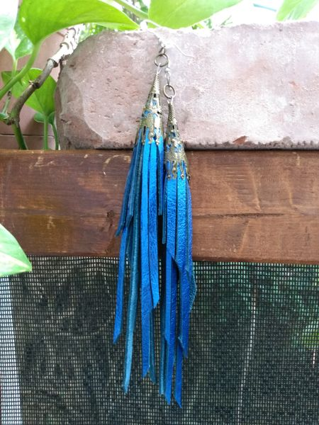 Long Electric Blue Fringe Leather Earrings