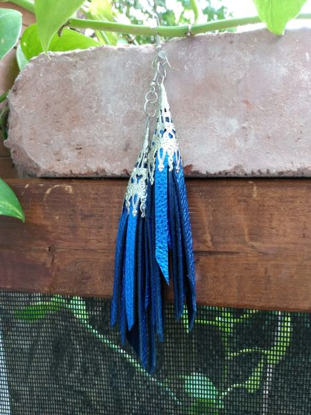 Short Electric Blue Fringe Leather Earrings