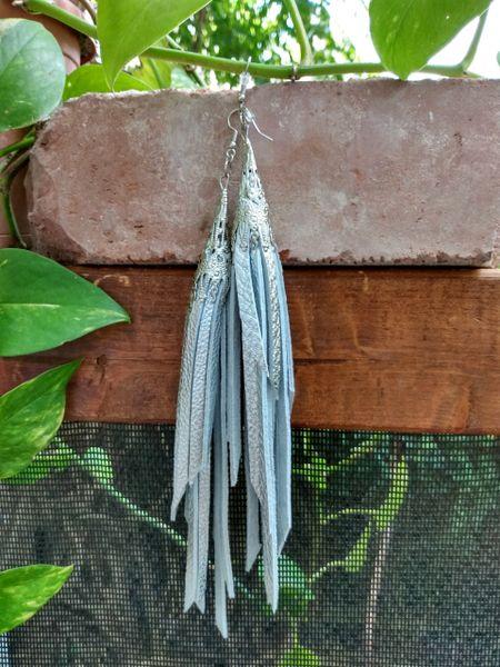 Long Silver Metallic Fringe Leather Earrings