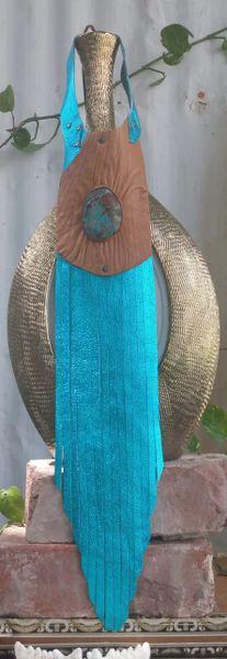 Turquoise Metallic Tribal Fringe Necklace with Ocean Jasper Stone