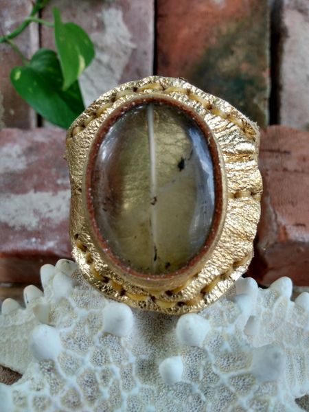Gold Metallic Leather with Quartz Gemstone