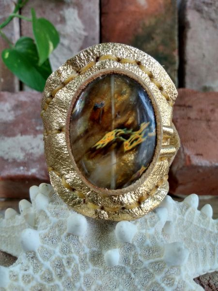 Gold Metallic with Fire Quartz Gemstone