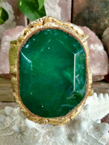 Gold Metallic with Green Agate Stone