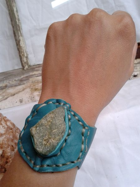 Teal leather and green stone