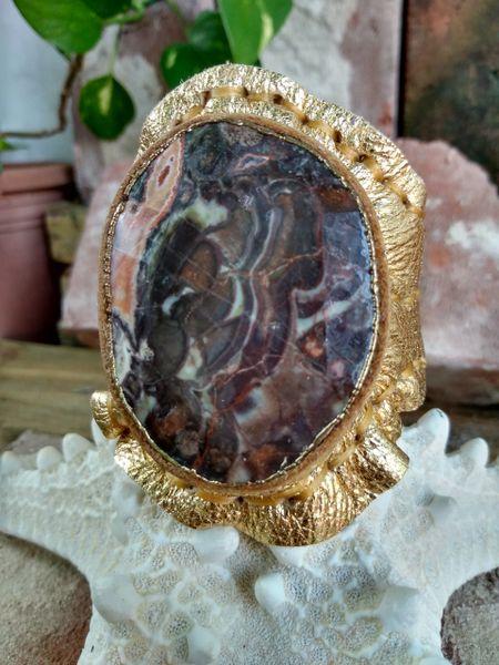 Gold Metallic with Ocean Jasper Stone