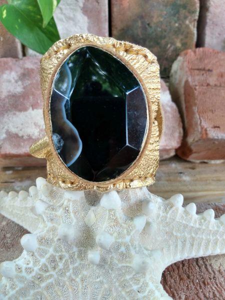 Gold Metallic with Black Agate Stone