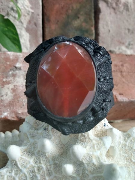 Black leather & Cornelian Stone