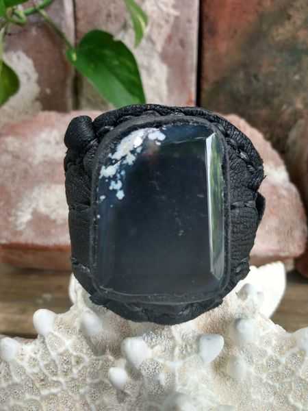 Black leather with Black & White Agate Stone