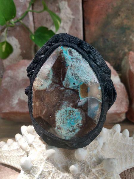 Black leather & Ocean Jasper Stone