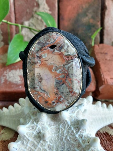 Black leather & Ocean Jasper Stone