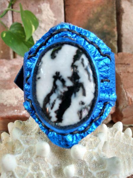 Electric Blue Leather with Zebra Jasper Stone