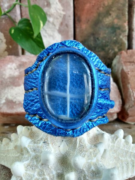 Electric Blue Leather with Crystal Quartz