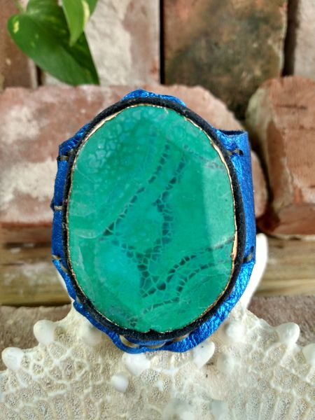 Electric Blue Leather with Green Turquoise Agate Stone