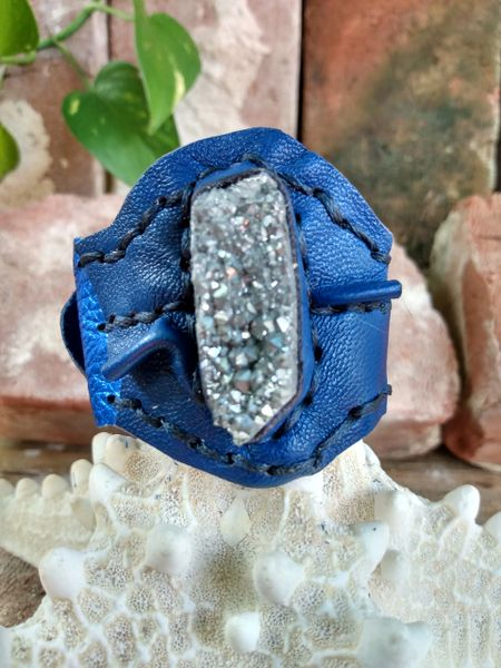 Electric & Navy Blue Leather with Silver Pyrite Stone