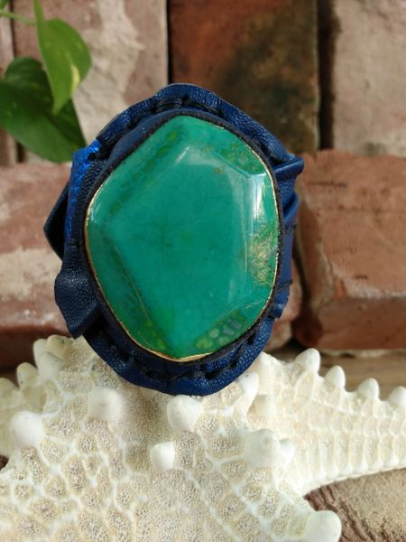 Electric & Navy Blue Leather with Green Turquoise Agate Stone