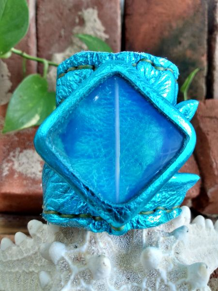 Turquoise Metallic Leather with Opalite Center