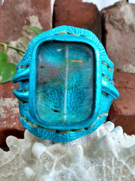 Turquoise Metallic Leather with a Cherry Quartz Stone