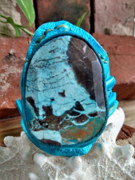Turquoise Metallic Leather with Ocean Jasper Stone