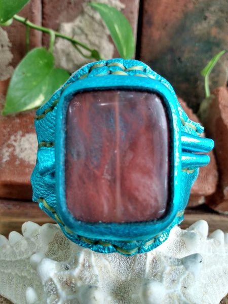 Turquiose Metallic Leather with Cherry Quartz