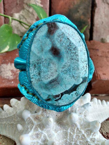 Turquiose Metallic Leather with a Ocean Jasper Stone