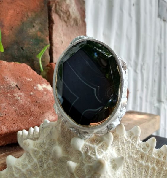 Silver Metallic Leather with a Black Agate Stone