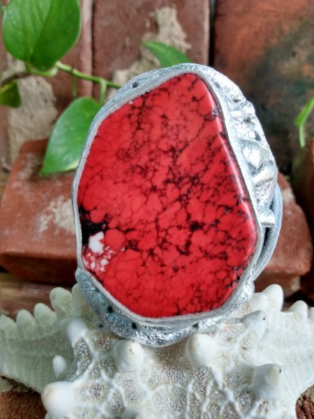 Silver Metallic Leather with a Red Howlite Stone