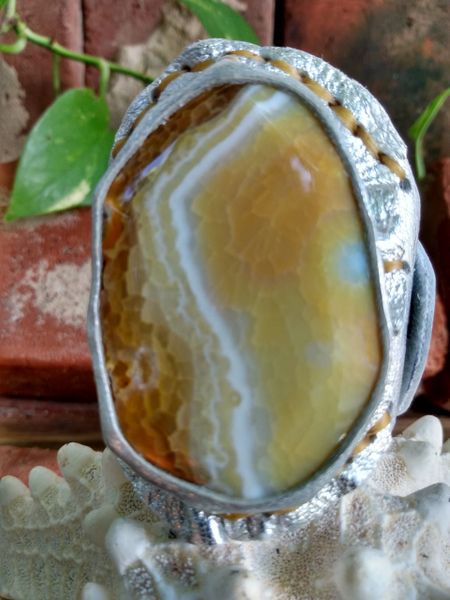 Silver Metallic Leather with a Yellow Agate Stone