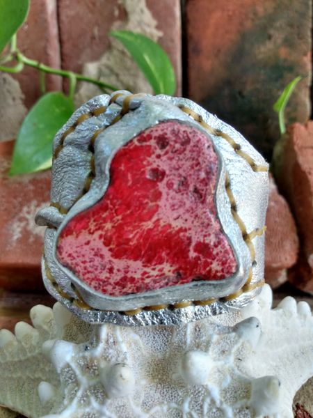 Silver Metallic Leather with a Red Imperial Jasper Stone