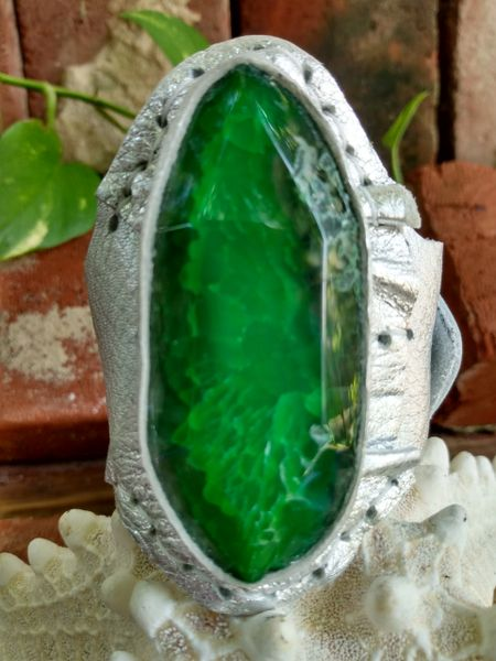 Silver Metallic Leather with a Green Agate Stone