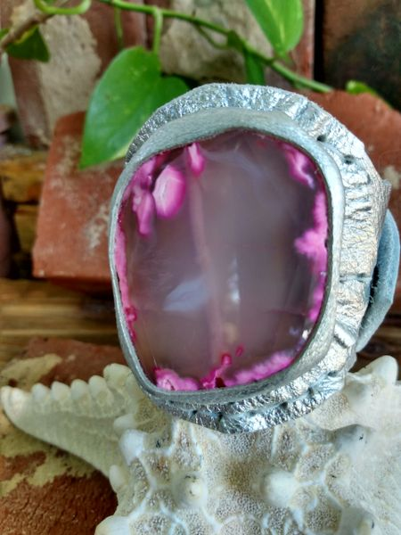 Silver Metallic Leather with an Opaque Pink Agate Stone