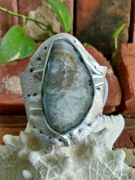 Silver Metallic Leather with an Opaque Greenish Agate Stone