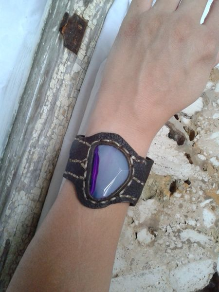 Brown leather & Purple Agate Stone