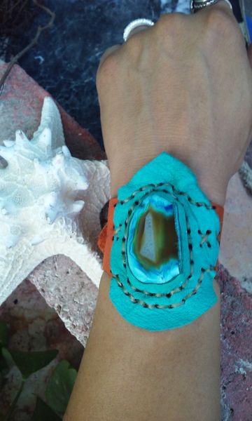 Orange and turquoise leather & blue agate Gemstone